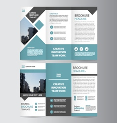Blue square trifold business leaflet brochure set vector