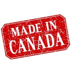 Made in canada red square grunge stamp vector