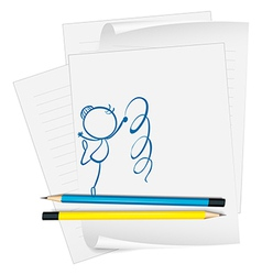 A paper with a sketch of a dancer vector image vector image