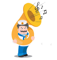a sailor with a tuba is a funny cartoon character vector image vector image
