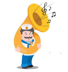 A sailor with a tuba is a funny cartoon character vector
