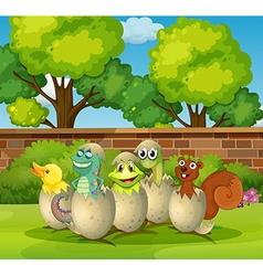 Animals in eggshells in the park vector