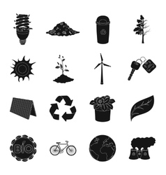 Bio and ecology set icons in black style big vector