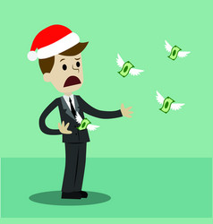 Businessman or manager in christmas hat losing his vector