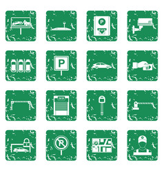 Car parking icons set grunge vector