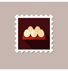 Chicken eggs in a tray flat stamp with long shadow vector