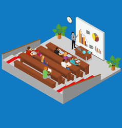 classroom interior with furniture and students vector image