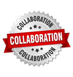 collaboration round isolated silver badge vector image