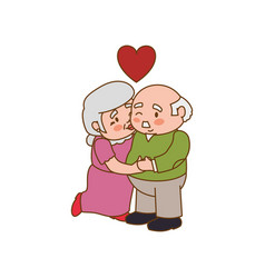 Couple elder adults kiss vector
