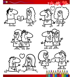 couple in love cartoons coloring page vector image vector image