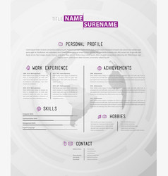 Creative simple cv template wtih polygonal world vector