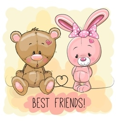 Cute bear and rabbit vector