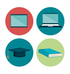 Education set flat icons vector