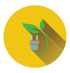 Electric plug with leaves icon vector image vector image