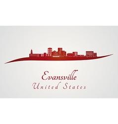Evansville skyline in red vector image vector image