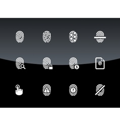 Finger scanner icons on black background vector