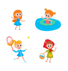 Flat summer camp kids activity set vector
