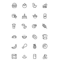 Food hand drawn outline icons 3 vector