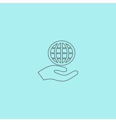Globe icon with hand vector image vector image
