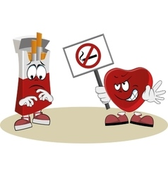 Heart protests against smoking vector image