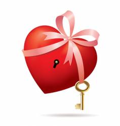 heart with key vector image vector image