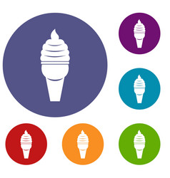 Ice cream in waffle cone icons set vector