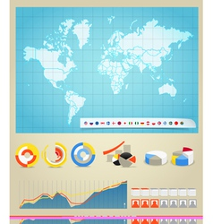 Infographic elements and the world map vector image