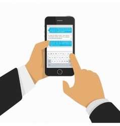 Mobile phone with keyboard in hand vector