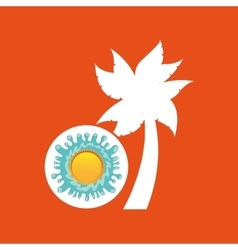 Palm summer vacation sun splashes label vector
