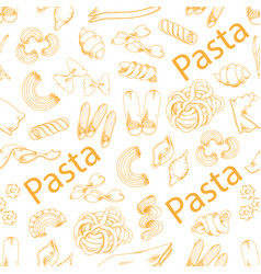 Pasta and italian macaroni seamless pattern vector