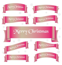 Pink shiny color merry christmas slogan curved vector