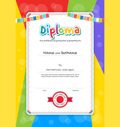 Portrait kids diploma or certificate template vector