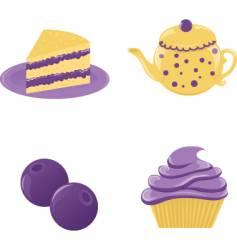 set of blueberry desserts vector image
