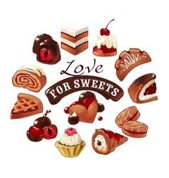 Set of icons sweets vector image vector image