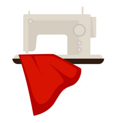 sewing machine and red cloth vector image vector image