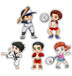 Sticker set of kids doing many sports vector