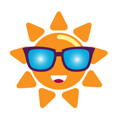 Sun in sunglasses character vector