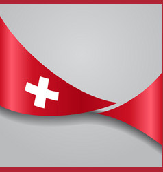 Swiss wavy flag vector
