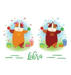 The signs of the zodiac guinea pig libra vector
