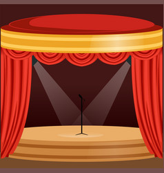 Theater or music concert scene with red curtain vector