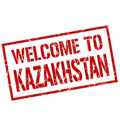 Welcome to kazakhstan stamp vector