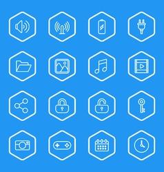 White line web icon set with hexagon frame vector