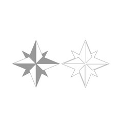 Wind rose the grey set icon vector