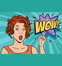 wow pop art woman vector image