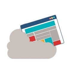 Isolated cloud computing and website design vector