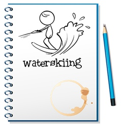 A notebook with a sketch of a person waterskiing vector