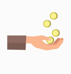outstretched hand and falling coins isolated on vector image