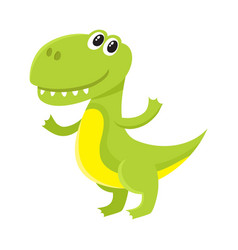 Cute and funny smiling baby tyrannosaurus vector