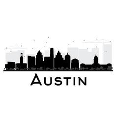 austin city skyline black and white silhouette vector image