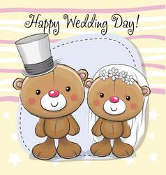 Teddy bride and teddy groom vector